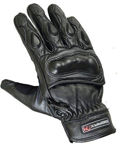 Court-t-Cuir-Vritable-Gants-Moto-Articulation-Coque-Protection-noir-L-Noir-0