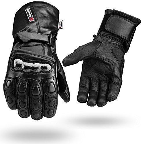 Noir-Hiver-Impermable-Gants-Cuir-4-Moto-Articulation-Guarde-Noir-M-0