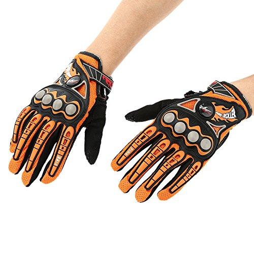 Pro-biker-Doigt-Complet-moto-vlo-course-quitation-gants-couleur-orange-taille-XL-0