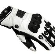 mbsmoto-Sport-Moto-Vlo-Cruiser-de-protection-en-cuir-gants-blanc-0-0