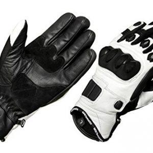 mbsmoto-Sport-Moto-Vlo-Cruiser-de-protection-en-cuir-gants-blanc-0