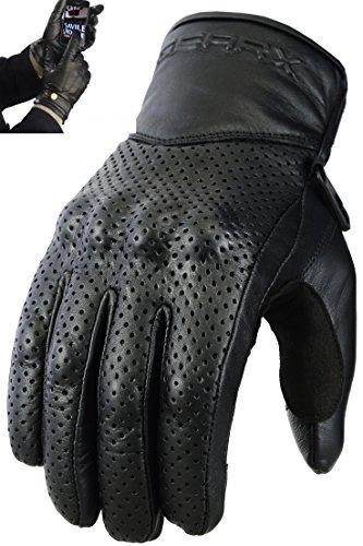 ventil-Gants-Moto-Cuir-Vritable-jointure-protection-Noir-XL-0