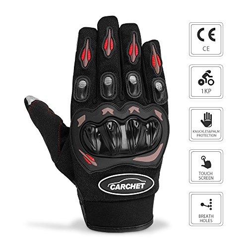 Gants-Moto-Ete-Homologu-CE-1KP-CARCHET-Femme-Homme-Plein-Doigt-Ecran-Tactile-Respirable-Anti-glissant-Anti-usure-Rglable-Noir-Taille-L-0