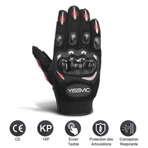 YISSVIC-Gants-Moto-Homologus-CE-Gants-Scooter--cran-Tactile-Plein-doigt-Anti-Glissant-Anti-Usure-Noir-Taille-L-25-27-cm-Version-Amliore-0