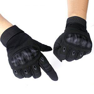 Gants-Tactiques-Plein-doigt-et-Demi-doigt-Unisexe-de-Mi-Saison-Pour-Scooter-Auto-Moto-Vlo-Motocross-Combat-Camping-Randonn-ou-Protection-des-autres-Activits-En-Plein-M-Noir-Plein-doigt-0