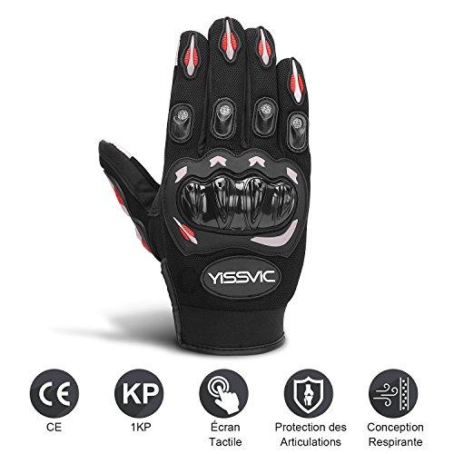 YISSVIC-Gants-Moto-Homologus-CE-Gants-Scooter–cran-Tactile-Plein-doigt-Anti-Glissant-Anti-Usure-Noir-Taille-L-25-27-cm-Version-Amliore-0