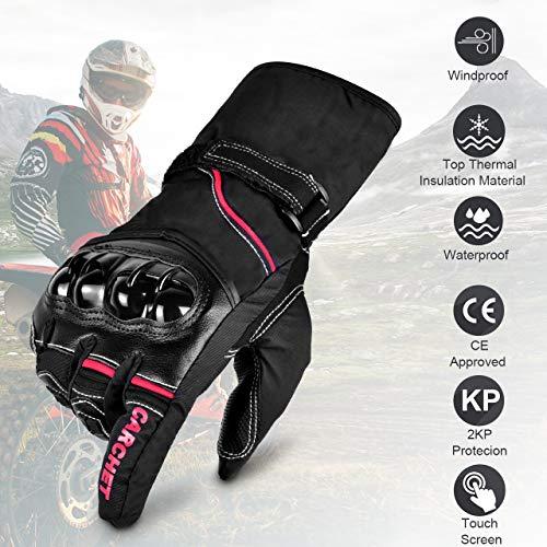 CARCHET-Gants-Moto-Homologu-CE-2KP-Femme-Homme-2019-Mi-Saison-Impermable-avec-3M-Thinsulate-Doublure-Double-Multi-Renfort-Protection-Manchette-avec-Double-Serrage-Tactile-pour-Smartphones-GPS-L-0