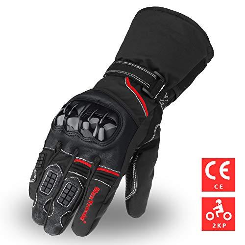 MaxTronic-Gants-Moto-Scooter-Homologu-CE-2KP-360Protection-Coque-Anti-Choc-Renfort-Paume-Cuir-Anti-Usure-Thinsulate-3M-tanche-Hiver-pais-Chaud-pour-Unisexe-Homme-Femme-Manche-Long-Port-Agrable-0